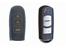 Чехол для ключей Mazda кожаный (T2, BGT-LKH-Mz-Y905-BLU)