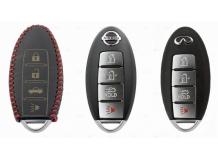 Чехол для ключей Nissan кожаный (T2, BGT-LKH-Ns-Y801-R)