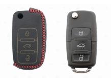 Чехол для ключей Volkswagen кожаный (T2, BGT-LKH-VwSkSt-Y2-R)