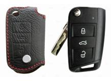 Чехол для ключей Volkswagen кожаный (T1, BGT-LKHVW-3B)