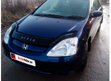 Дефлектор капота Honda Civic VII /2000-2005, Хэтчбек/. Мухобойка Хонда Цивик [Vip Tuning]