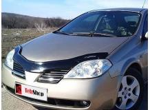 Дефлектор капота Nissan Primera P12 /2002-2008, длинный/. Мухобойка Ниссан Примера [Vip Tuning]
