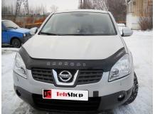 Дефлектор капота Nissan Qashqai I /2006-2010/. Мухобойка Ниссан Кашкай [Vip Tuning]