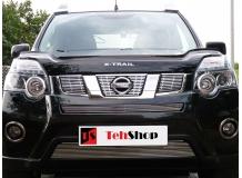 Дефлектор капота Nissan X-Trail T31 /2007-2014, длинный/. Мухобойка Ниссан ИксТрейл [Vip Tuning]