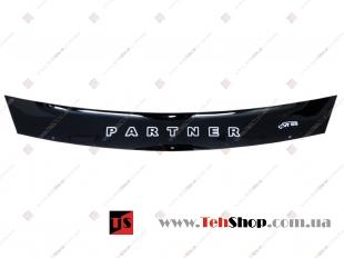 Дефлектор капота Peugeot Partner II /2008-2018, короткий/. Мухобойка Пежо Партнер [Vip Tuning]