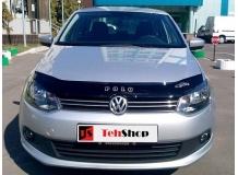 Дефлектор капота Volkswagen Polo V /2014-2017, FL/. Мухобойка Фольксваген Поло [Vip Tuning]