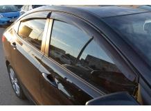 Дефлекторы окон Hyundai Accent IV (Solaris) /2011-2017, Седан/. Ветровики Хюндай Акцент [Cobra]
