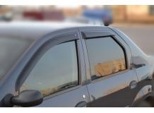 Дефлекторы окон Renault Logan I /Седан, 2004-2013/. Ветровики Рено Логан [Cobra]