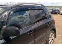 Дефлекторы окон Suzuki SX4 I /Хэтчбек, длинные, 2005-2014/. Ветровики Сузуки СХ4 [Cobra]