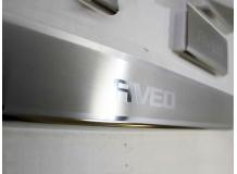 Накладки на пороги Chevrolet Aveo II (T300) /2012+, Седан, Хэтчбек/. Накладки порогов Шевроле Авео [NataNiko]
