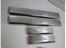 Накладки на пороги Chevrolet Cruze I /Седан, Хэтчбек, 2008+/. Накладки порогов Шевроле Круз [NataNiko]