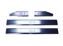 Накладки на пороги Citroen C1 I /Хэтчбек, 2005-2014/. Накладки порогов Ситроен С1 [NataNiko]