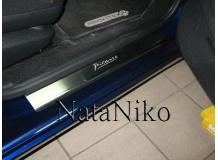 Накладки на пороги Citroen C4 Grand Picasso I /2006-2013/. Накладки порогов Ситроен С4 Гранд Пикассо [NataNiko]