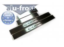 Накладки на пороги Citroen C-Crosser /2007-2013/. Накладки порогов Ситроен С-Кроссер [Alu-Frost]
