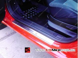 Накладки на пороги Fiat Punto III (199) /3D, 2005+/. Накладки порогов Фиат Пунто [Alu-Frost]