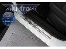 Накладки на пороги Ford Fiesta VI /2008-2016, 3D/. Накладки порогов Форд Фиеста [Alu-Frost]