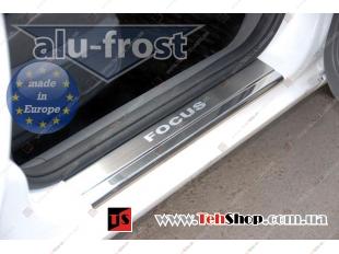 Накладки на пороги Ford Focus II /2004-2011, 3D/. Накладки порогов Форд Фокус [Alu-Frost]