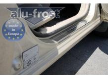 Накладки на пороги Hyundai Accent III (MC) /2006-2010, 3D/. Накладки порогов Хюндай Акцент [Alu-Frost]