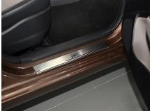 Накладки на пороги Hyundai i10 II /2013+/. Накладки порогов Хюндай i10 [NataNiko]