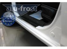 Накладки на пороги Hyundai i20 I /3D, 2008-2014/. Накладки порогов Хюндай i20 [Alu-Frost]