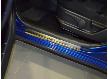 Накладки на пороги Hyundai i20 I /3D, 2008-2014/. Накладки порогов Хюндай i20 [NataNiko]