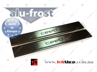 Накладки на пороги Kia Ceed II (EU) /3D, 2012+/. Накладки порогов Киа Сиид [Alu-Frost]