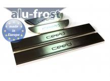 Накладки на пороги Kia Ceed II (EU) /2012-2019, Хэтчбек, Универсал/. Накладки порогов Киа Сиид [Alu-Frost]