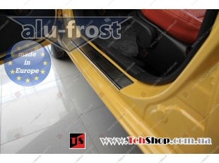Накладки на пороги Kia Picanto II /3D, 2011+/. Накладки порогов Киа Пиканто [Alu-Frost]