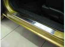 Накладки на пороги Mazda 2 II /2007-2014/. Накладки порогов Мазда 2 [NataNiko]