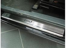 Накладки на пороги Mitsubishi Colt IX /3D, 2002-2012/. Накладки порогов Мицубиси Кольт [NataNiko]