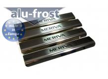 Накладки на пороги Opel Meriva B /2010+/. Накладки порогов Опель Мерива [Alu-Frost]
