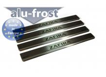 Накладки на пороги Opel Zafira B /2005-2013/. Накладки порогов Опель Зафира [Alu-Frost]