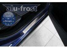 Накладки на пороги Peugeot 2008 /2012+/. Накладки порогов Пежо 2008 [Alu-Frost]