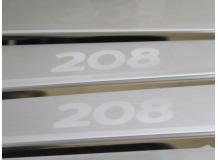 Накладки на пороги Peugeot 208 /5D, 2012+/. Накладки порогов Пежо 208 [NataNiko]
