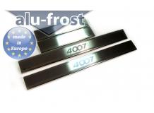 Накладки на пороги Peugeot 4007 /2007-2013/. Накладки порогов Пежо 4007 [Alu-Frost]