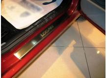 Накладки на пороги Renault Logan MCV I /2004-2013/. Накладки порогов Рено Логан МЦВ [NataNiko]
