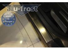 Накладки на пороги Renault Megane III /5D, 2008-2015/. Накладки порогов Рено Меган [Alu-Frost]