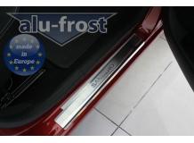 Накладки на пороги Renault Sandero I /2008-2013/. Накладки порогов Рено Сандеро [Alu-Frost]