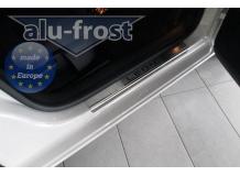 Накладки на пороги Seat Leon III (5F) /5D, 2012+/. Накладки порогов Сеат Леон [Alu-Frost]
