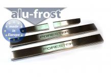 Накладки на пороги Subaru Forester III (SH) /2008-2013/. Накладки порогов Субару Форестер [Alu-Frost]