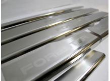Накладки на пороги Subaru Forester IV (SJ) /2012+/. Накладки порогов Субару Форестер [NataNiko]