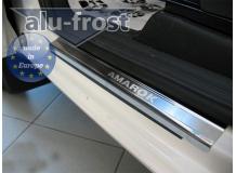 Накладки на пороги Volkswagen Amarok /2010+/. Накладки порогов Фольксваген Амарок [Alu-Frost]
