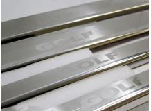 Накладки на пороги Volkswagen Golf VI /3D, 2008-2012/. Накладки порогов Фольксваген Гольф 6 [NataNiko]