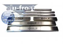 Накладки на пороги Volkswagen Golf VI /Универсал, 2008-2012/. Накладки порогов Фольксваген Гольф 6 [Alu-Frost]